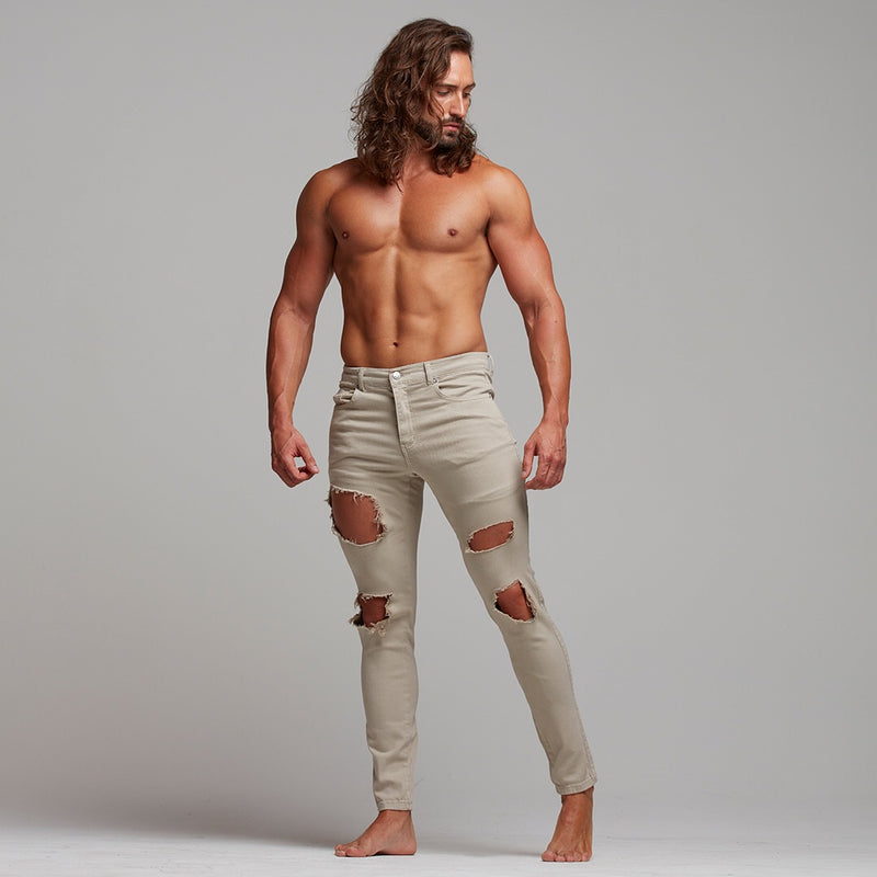 Father Sons Slim Ultra Stretch Beige Ripped Jeans - FSH282