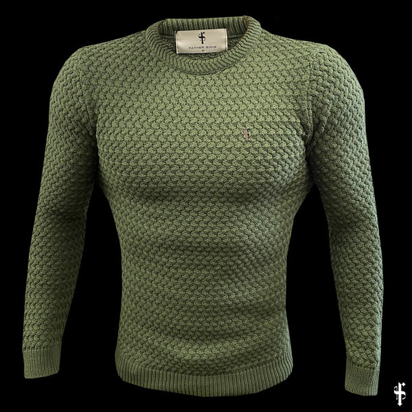 Father Sons Olive Knitted Weave Super Slim Jumper With Metal Decal - FSJ018