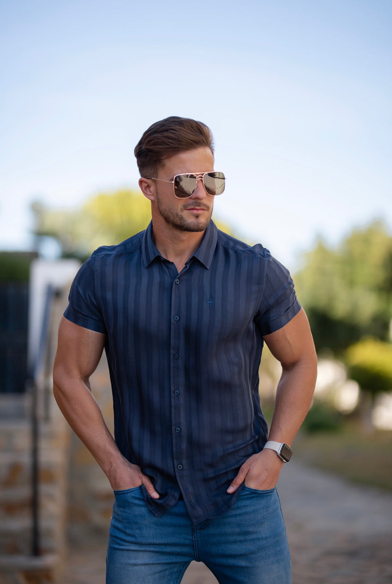 Father Sons Classic Relaxed Navy Self Stripe Short Sleeve - FS736