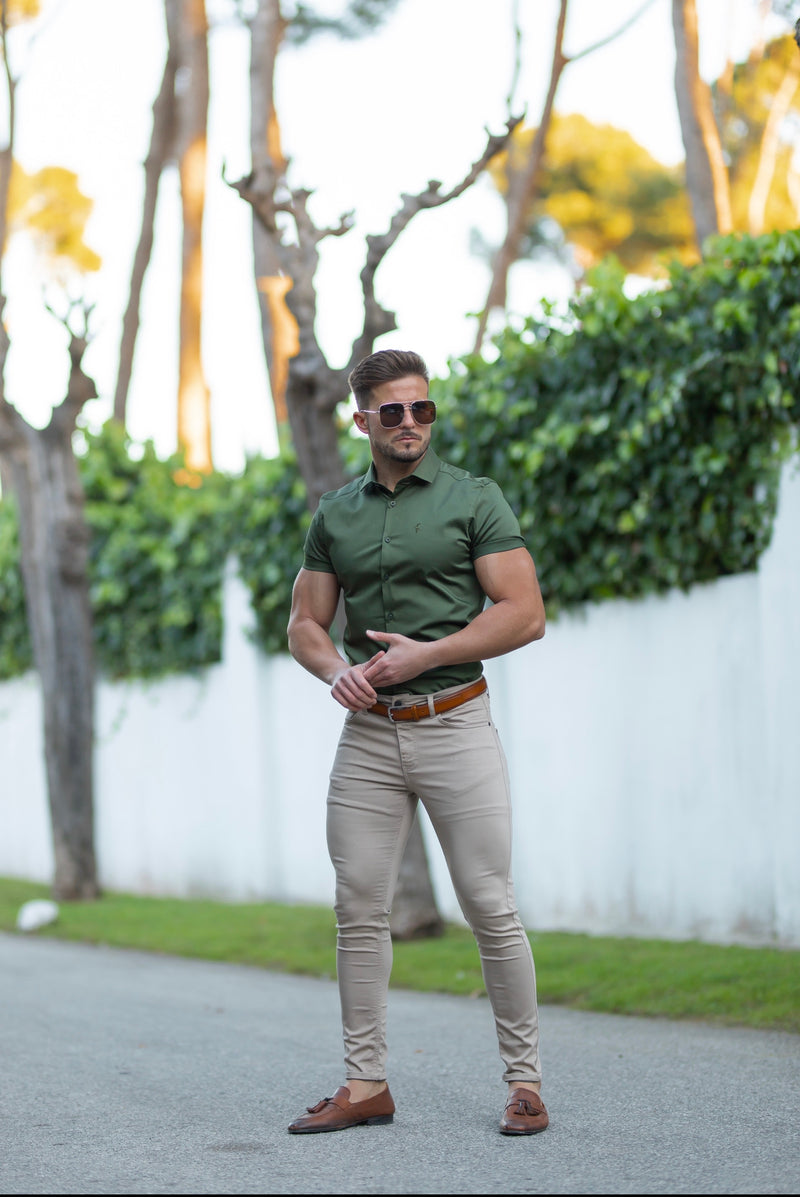 Father Sons Slim Sateen Classic Khaki Short Sleeve - FS740
