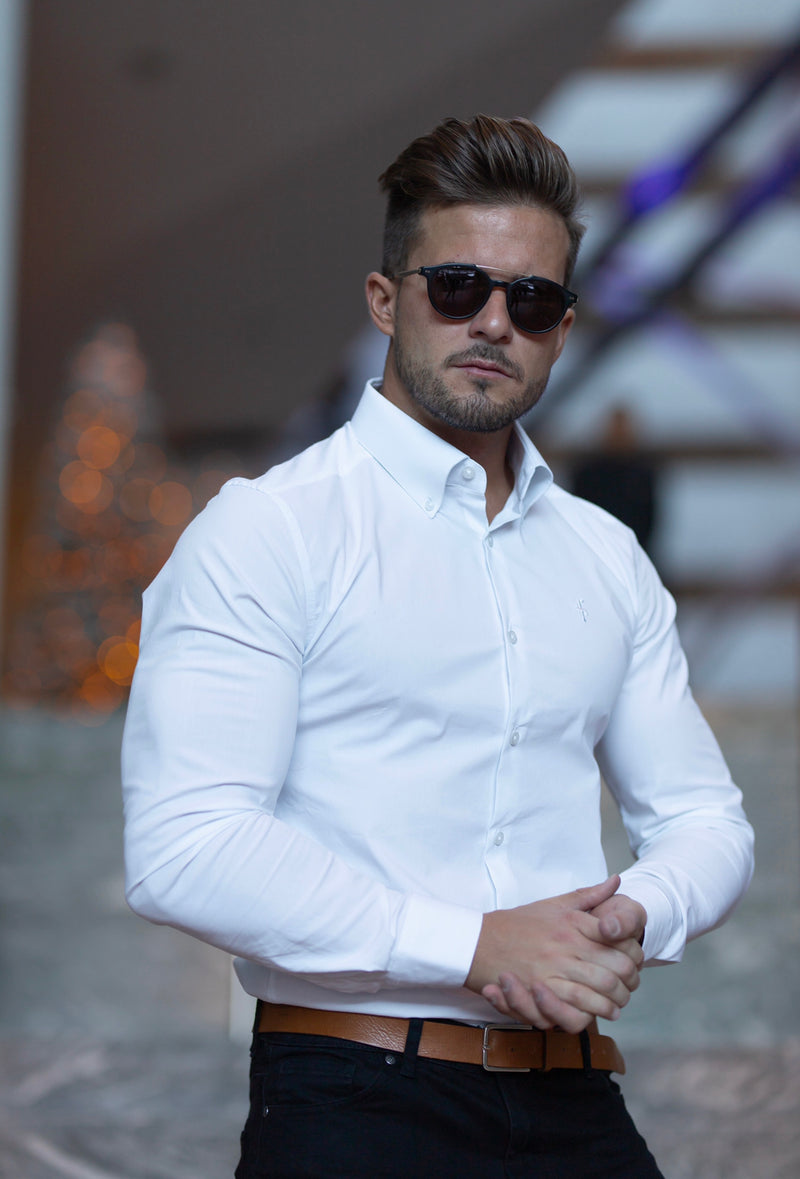 Father Sons Classic White Stretch Shirt with Button Down Collar and White Embroidery - FS562
