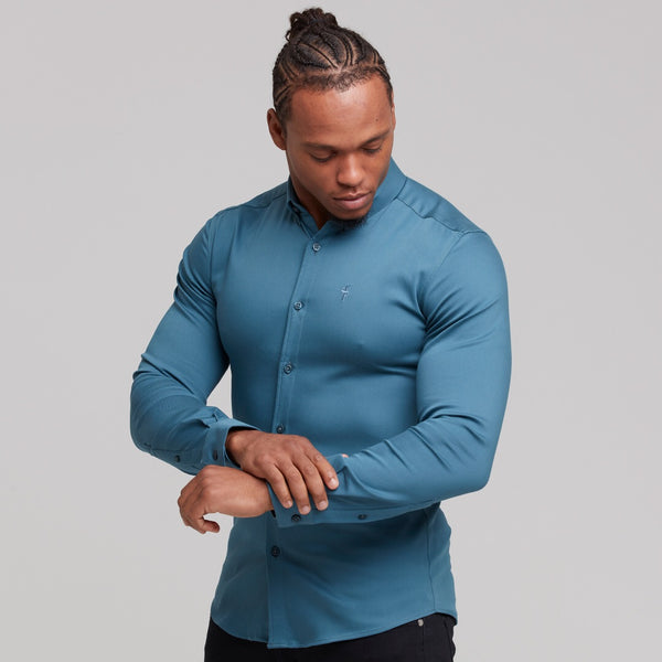Father Sons Super Slim Stretch Teal Denim Long Sleeve - FS327