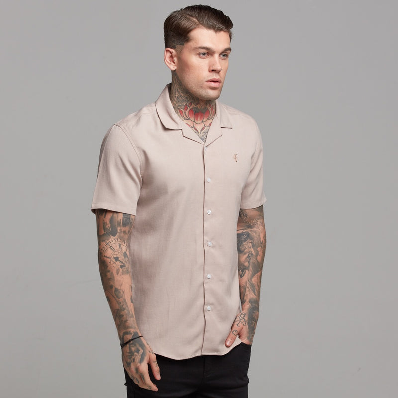 Father Sons Classic Nude Linen effect Short Sleeve Revere Shirt - FS445