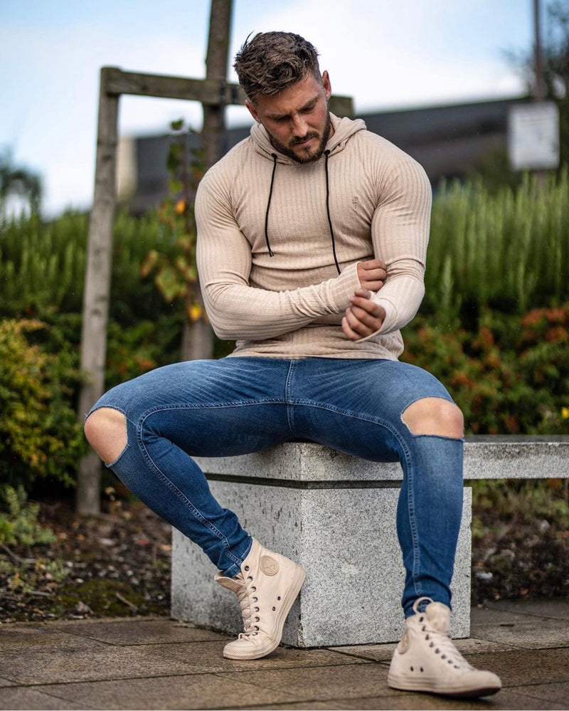 Father Sons Classic Beige Ribbed Knit Hoodie Jumper - FSH412