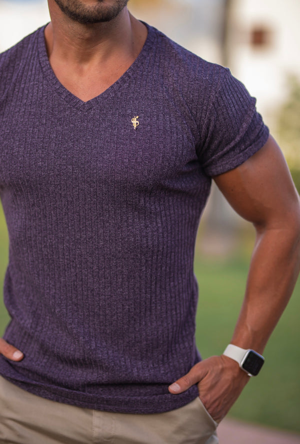 Father Sons Classic Plum V Neck Ribbed Crew - FSH504 (Pre order / Dispatch date 28th August)