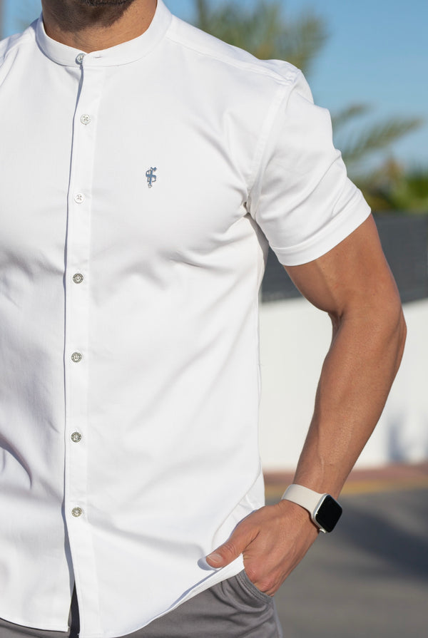 Father Sons Super Slim Stretch White Denim Short Sleeve Grandad collar with Silver Metal Buttons and Decal Emblem - FS762