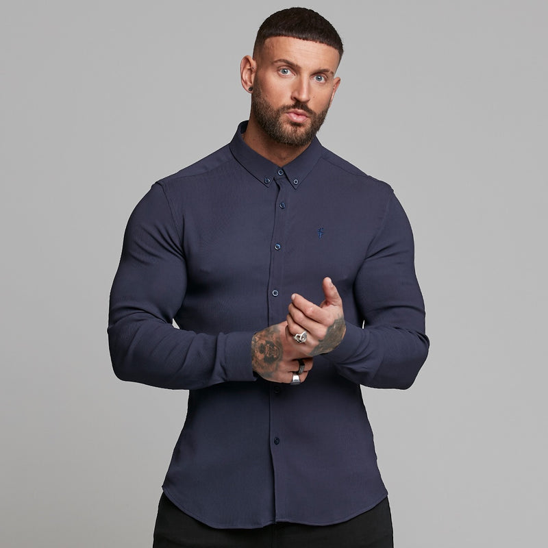 Father Sons Super Slim Stretch Ribbed Navy Long Sleeve - FS443