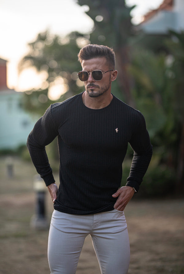 Father Sons Classic Black Ribbed Knit Super Slim Crew Long Sleeve with Gold Metal Emblem - FSH533 (PRE ORDER 8TH DECEMBER)