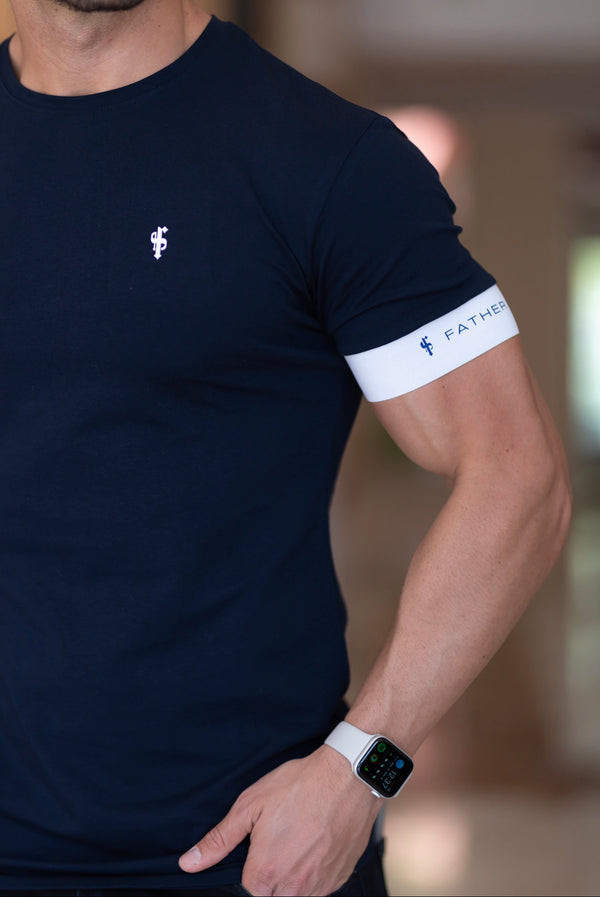 Father Sons Classic Navy Crew T Shirt with FS Elastic Sleeve Branding - FSH626 (PRE ORDER 23RD APRIL)