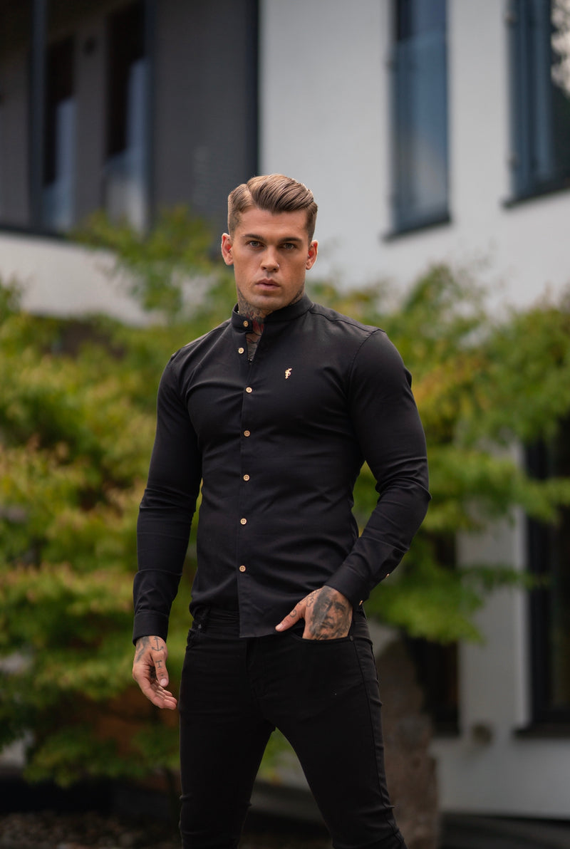 Father Sons Super Slim Stretch Black Denim Long Sleeve Grandad collar with Metal Buttons and Decal Emblem - FS707