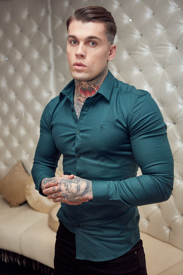 Father Sons Super Slim Luxe Ultra Stretch Classic Forest Green Long Sleeve -  FS674