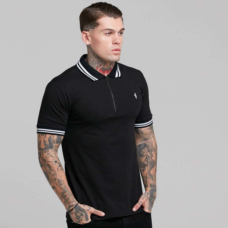 Father Sons Classic Black and White Contrast Collar Polo Shirt - FSH236