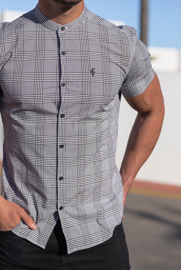 Father Sons Super Slim Stretch Prince Of Wales White and Black Print Check Short Sleeve with Grandad Collar - FS745