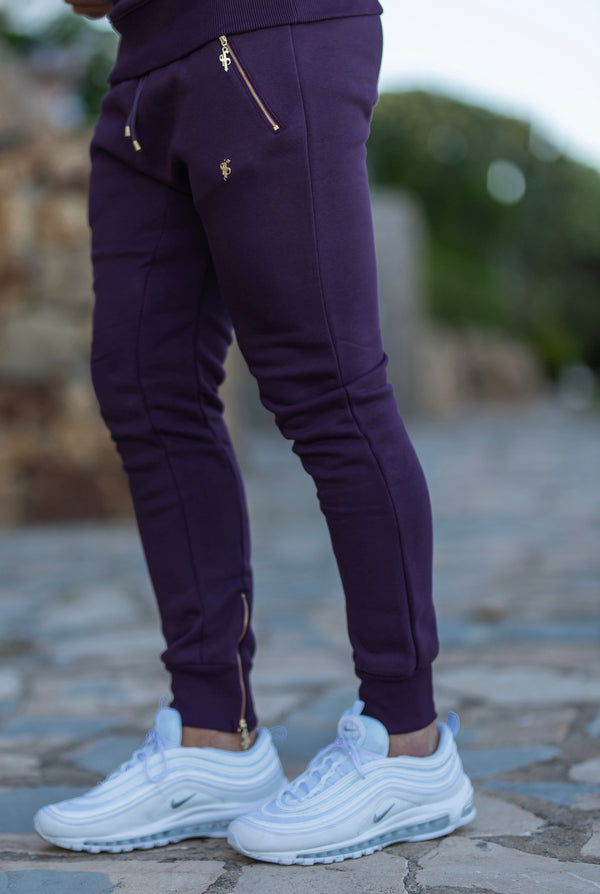 Father Sons Plum / Purple & Gold Tapered Bottoms with Ankle Zip Detail - FSH486 - (PRE ORDER / DISPATCH DATE 31ST JULY)