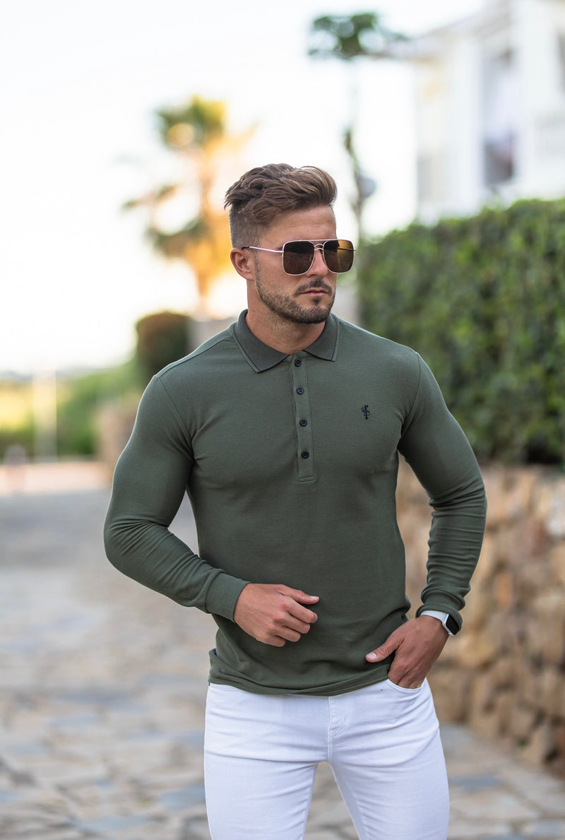 Father Sons Classic Khaki Honeycomb Textured Polo Shirt with Contrast Collar Long Sleeve  - FSH419