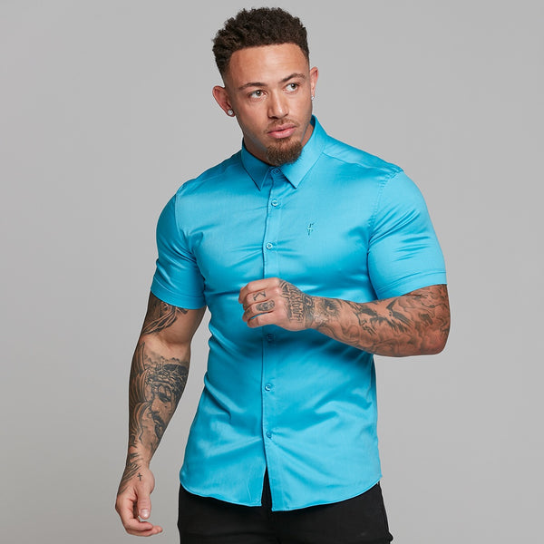 Father Sons Super Slim Luxe Ultra Stretch Bright Blue Short Sleeve -  FS538