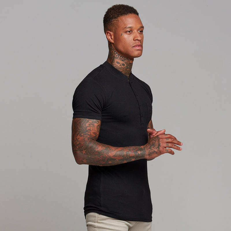 Father Sons Classic Black Grandad Polo Shirt - FSH240