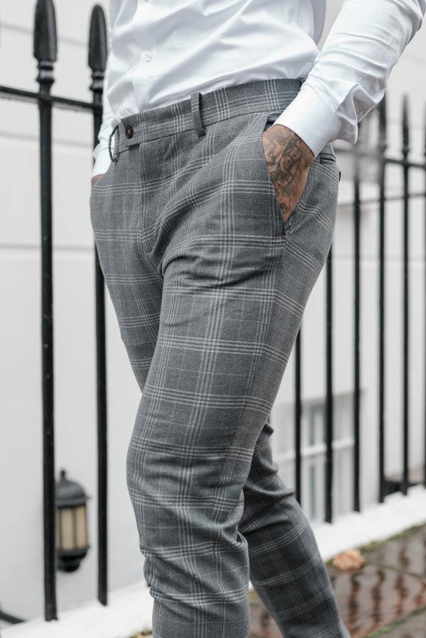 Father Sons Slim Formal Large Silver Grey Check Stretch Trousers - FST005 (PRE ORDER 18TH DECEMBER)