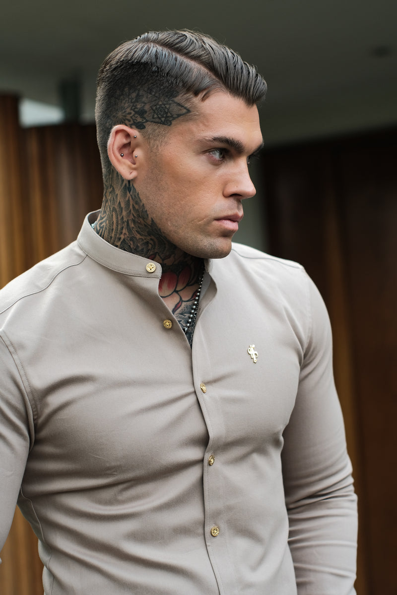 Father Sons Super Slim Stretch Beige Denim Long Sleeve Grandad collar with Metal Buttons and Decal Emblem - FS723  (PRE ORDER / DISPATCH DATE 29TH SEPTEMBER)
