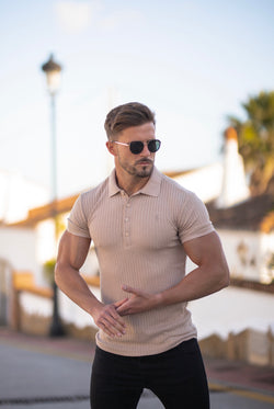 Father Sons Classic Beige Ribbed Polo Shirt Short Sleeve - FSH550