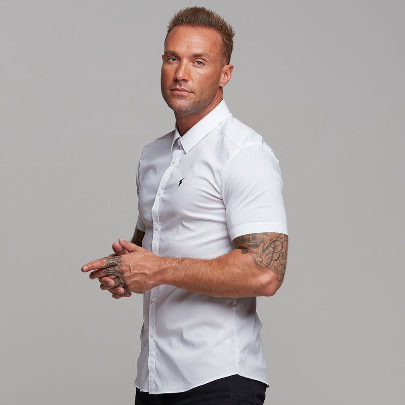 Father Sons Super Slim Stretch Classic White Short Sleeve - FS126