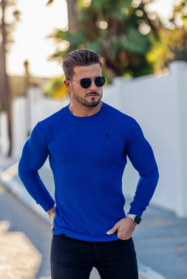 Father Sons Classic Royal Blue Ribbed Knit Jumper With Black Metal Emblem - FSH596 (PRE ORDER 21ST DECEMBER)
