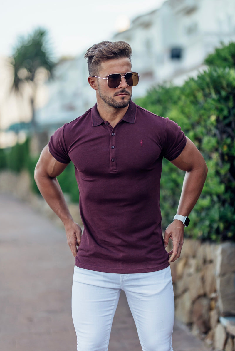 Father Sons Classic Burgundy Pima Polo Shirt with Contrast Collar Short Sleeve  - FSH430