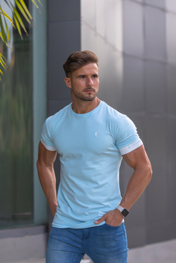 Father Sons Classic Aqua Blue Crew T Shirt with FS Elastic Sleeve Branding - FSH638 (PRE ORDER 29TH APRIL)