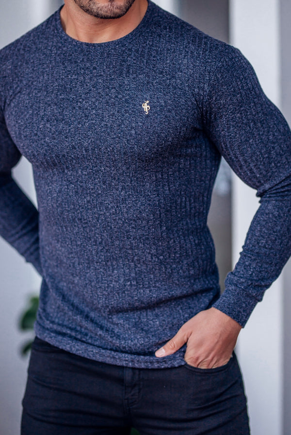 Father Sons Classic Navy Ribbed Knit Jumper With Gold Emblem - FSH539