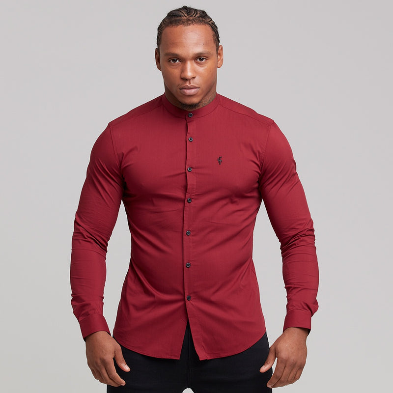 Father Sons Super Slim Stretch Classic Oxblood Grandad Collar - FS294