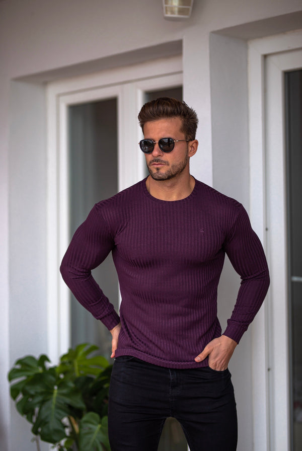 Father Sons Classic Plum Ribbed Knit Jumper - FSH615 (PRE ORDER 21ST DECEMBER)