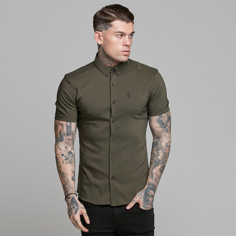 Father Sons Super Slim Ultra Stretch Classic Olive Short Sleeve - FS483