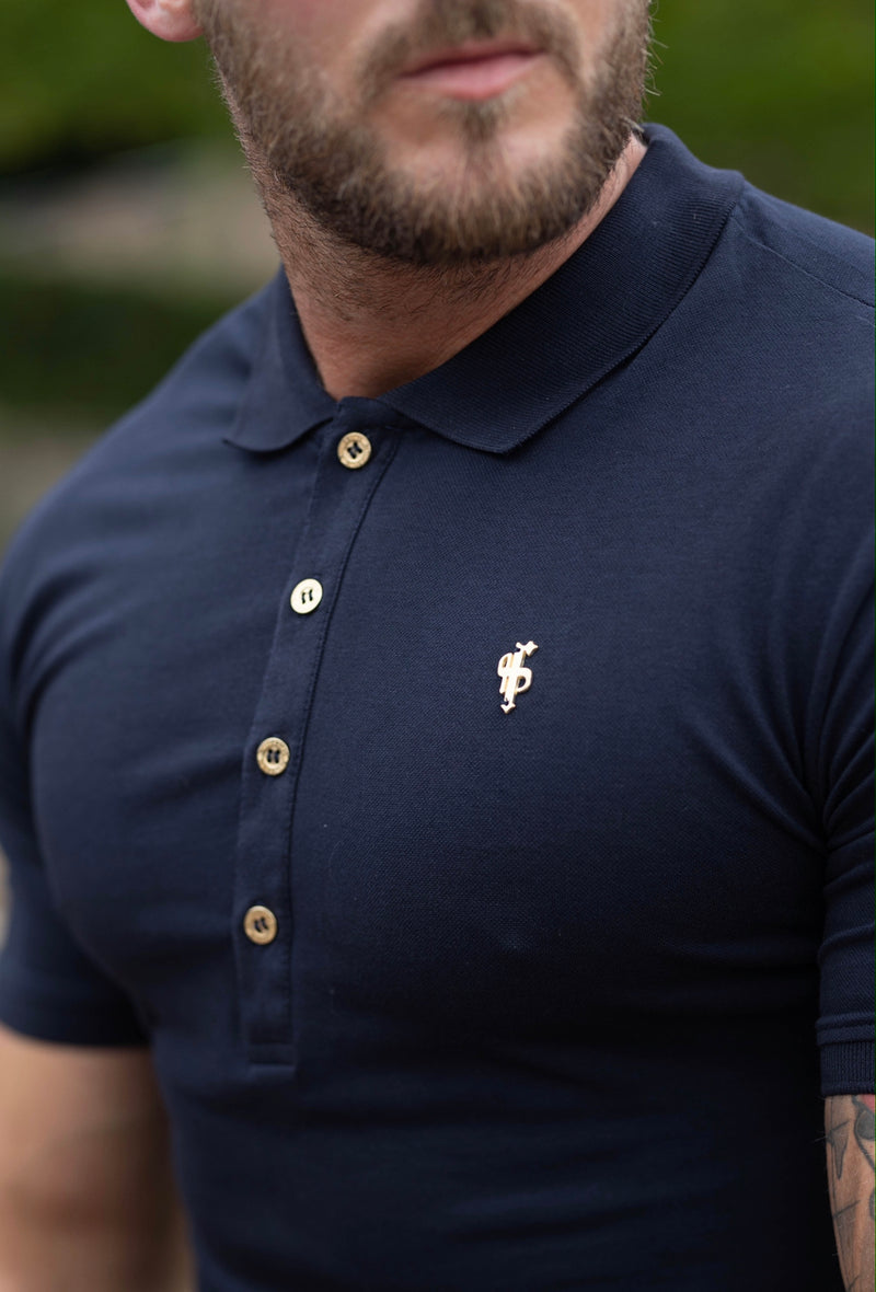 Father Sons Classic Navy Polo Shirt with Gold Metal Emblem Decal & Buttons - FSH462