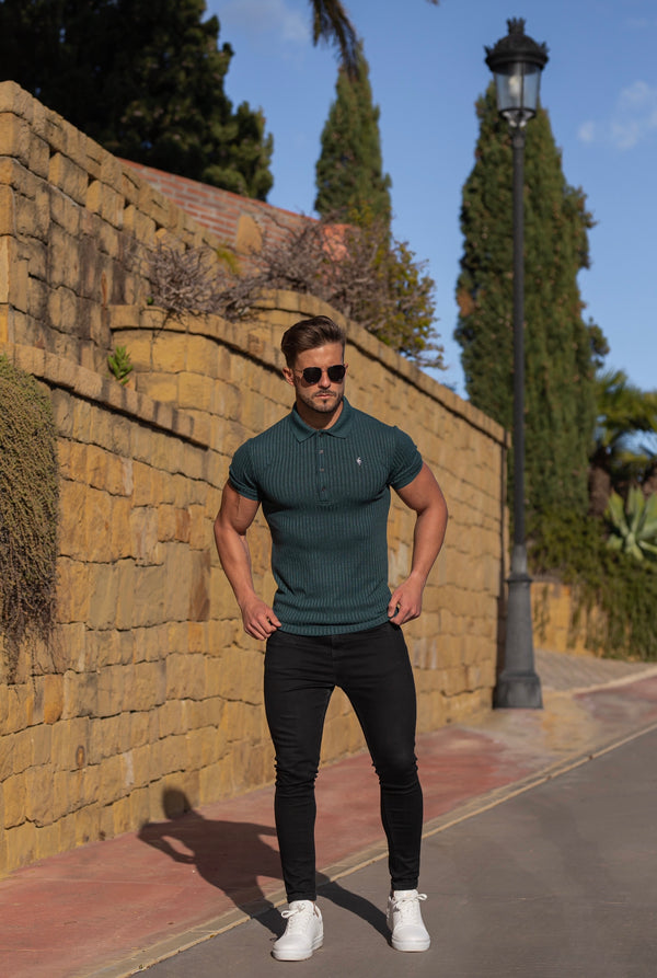 Father Sons Classic Forest Green Ribbed Polo Shirt Short Sleeve with Black Metal Emblem Decal & Buttons- FSH584 (PRE ORDER 18TH MARCH)