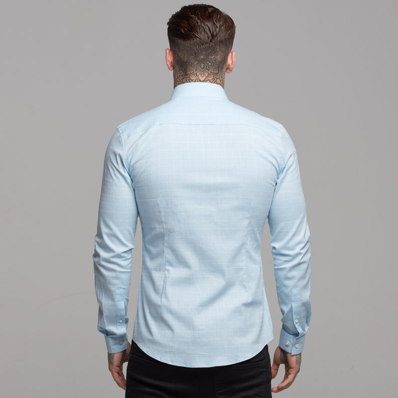 Father Sons Super Slim Stretch Blue and White Grid Check - FS454