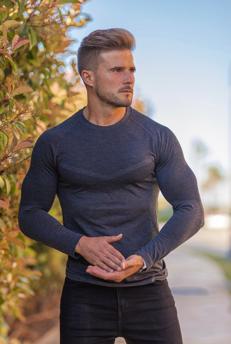 Father Sons Long sleeve Charcoal crew gym top with Raglan sleeve detail - FSM025