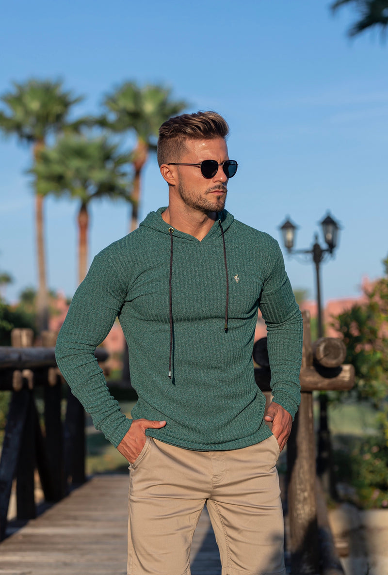 Father Sons Classic Forest Green / Gold Ribbed Knit Hoodie Jumper - FSH508