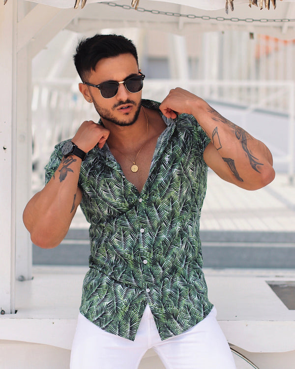 Father Sons Super Slim Stretch White With Green Palm Tree Leaf Print Short Sleeve Button Down - FS588
