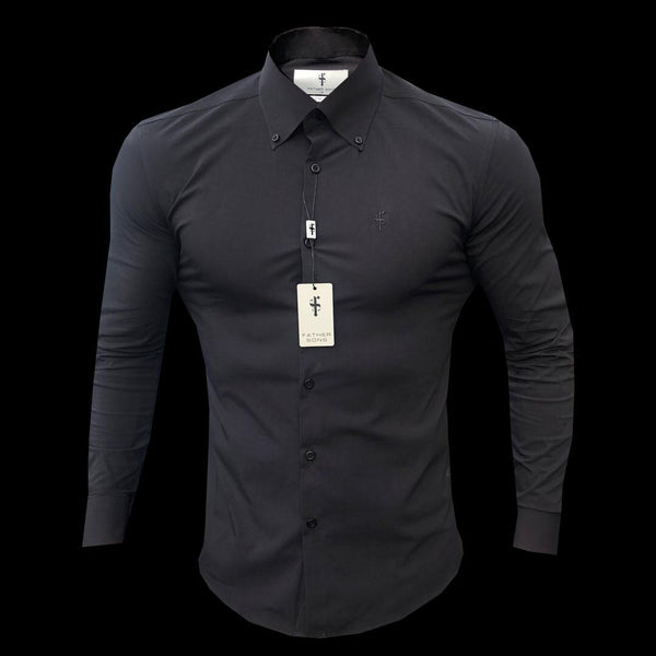Father Sons Classic Black Stretch Shirt with Button Down Collar and Black Embroidery - FS563