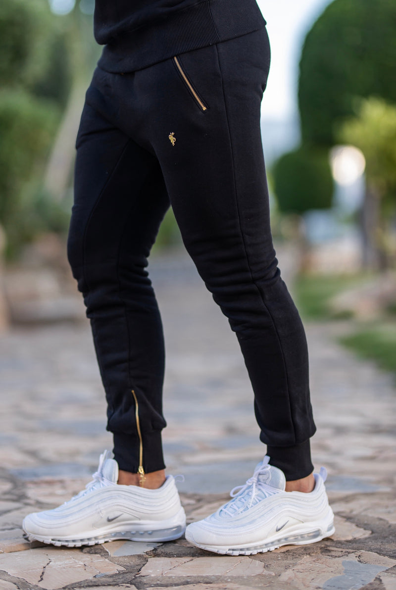 Father Sons Black & Gold Tapered Bottoms with Ankle Zip Detail - FSH440