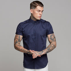 Father Sons Classic Navy Luxe Egyptian Cotton Button Down Short Sleeve - FS500