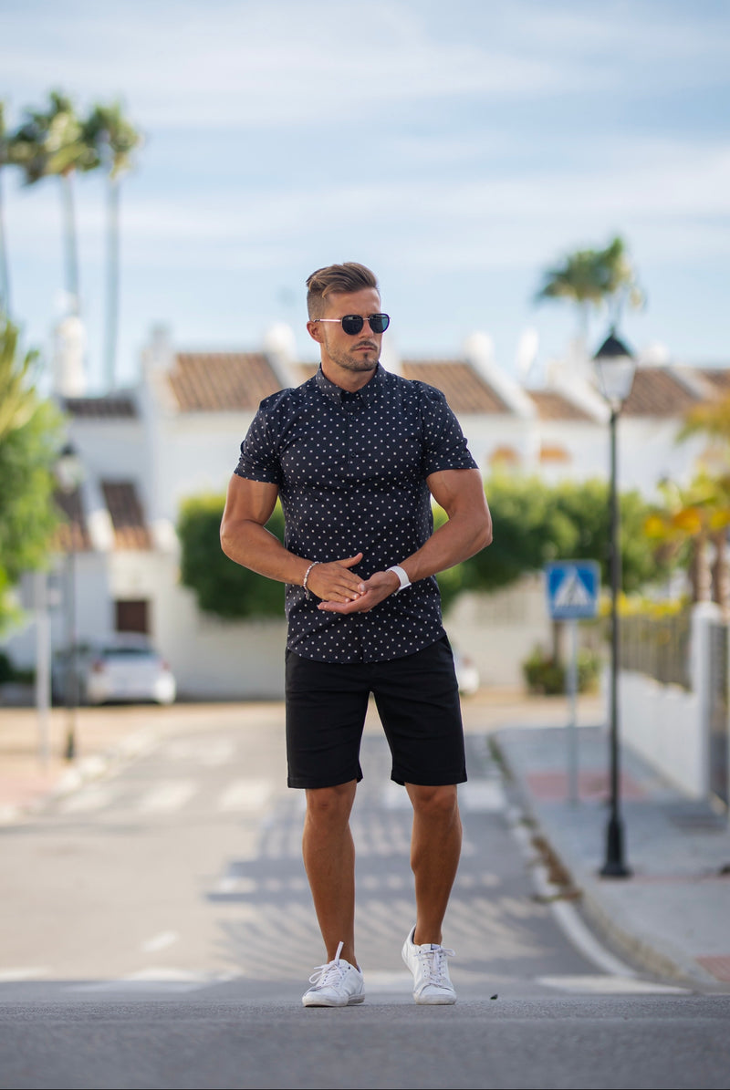 Father Sons Super Slim Stretch Black & Off White Broken Square Print Short Sleeve - FS691