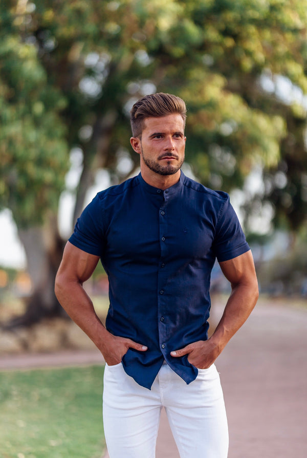 Father Sons Super Slim Stretch Grandad Collar Short Sleeve Classic Navy Oxford - FS584