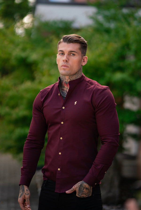 Father Sons Super Slim Stretch Burgundy Denim Long Sleeve Grandad collar with Metal Buttons and Decal Emblem - FS721  (PRE ORDER / DISPATCH DATE 29TH SEPTEMBER)