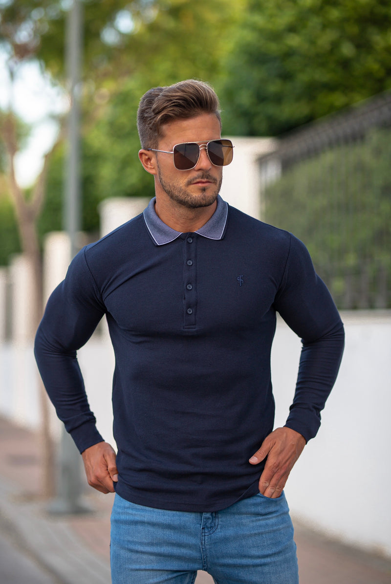 Father Sons Classic Navy Honeycomb Textured Polo Shirt with Contrast Collar Long Sleeve  - FSH425