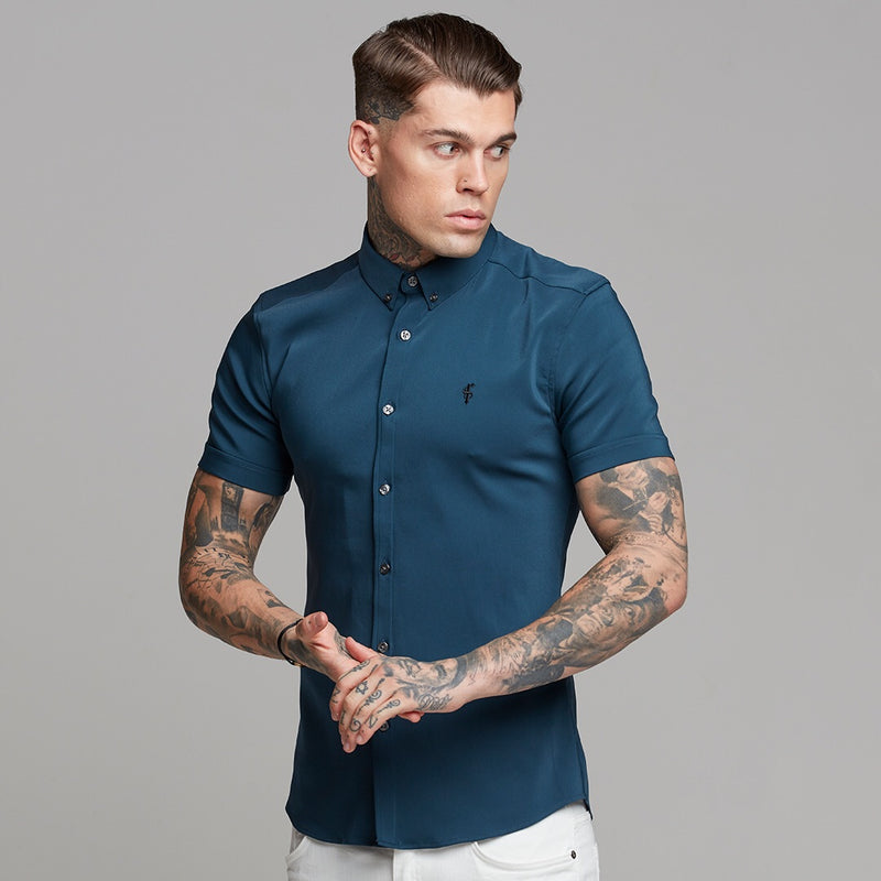 Father Sons Super Slim Ultra Stretch Classic Teal Short Sleeve (Charcoal Buttons) -  FS485