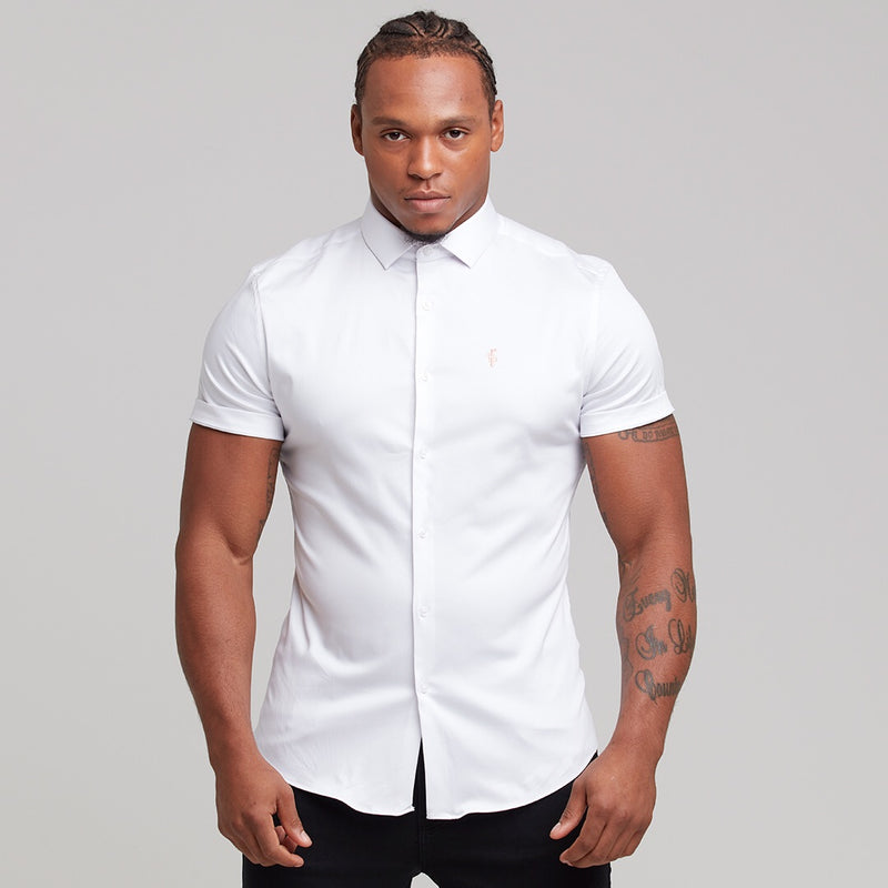 Father Sons Slim Sateen Classic White with Peach Embroidery - FS400