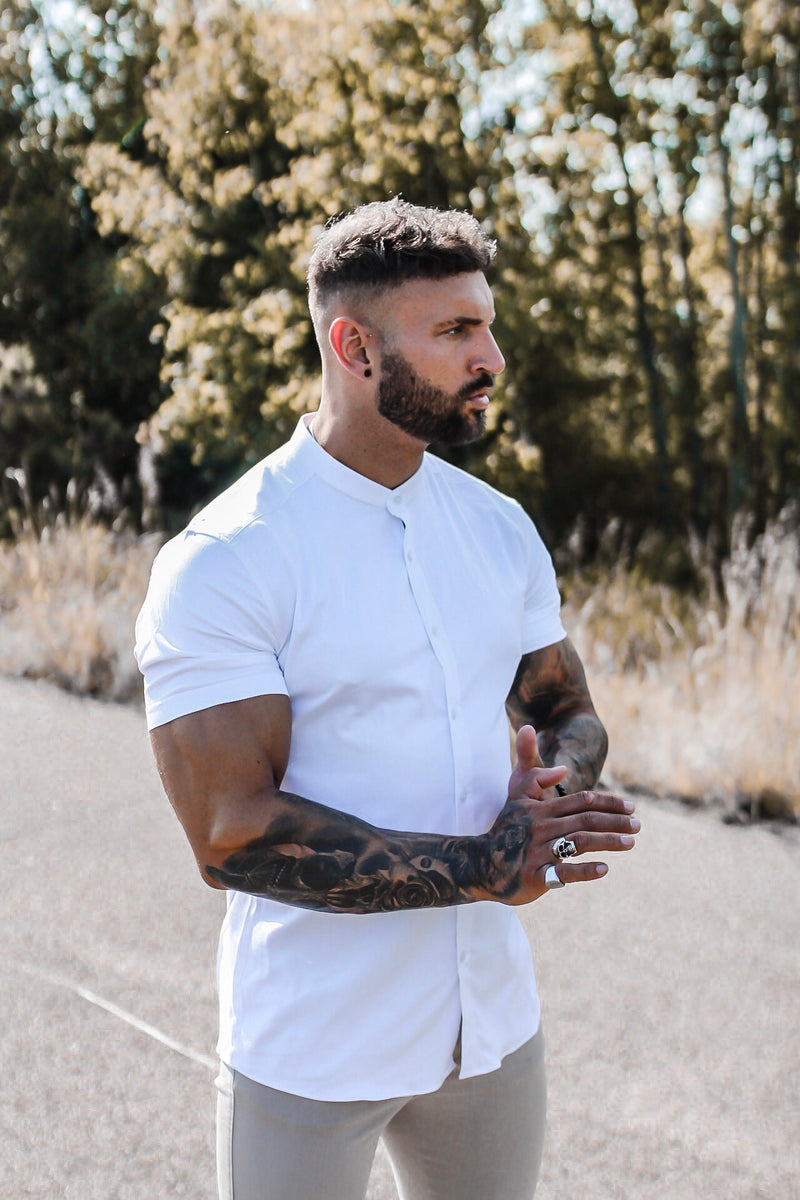 Father Sons Super Slim Stretch Classic All White Grandad Collar Short Sleeve - FS580