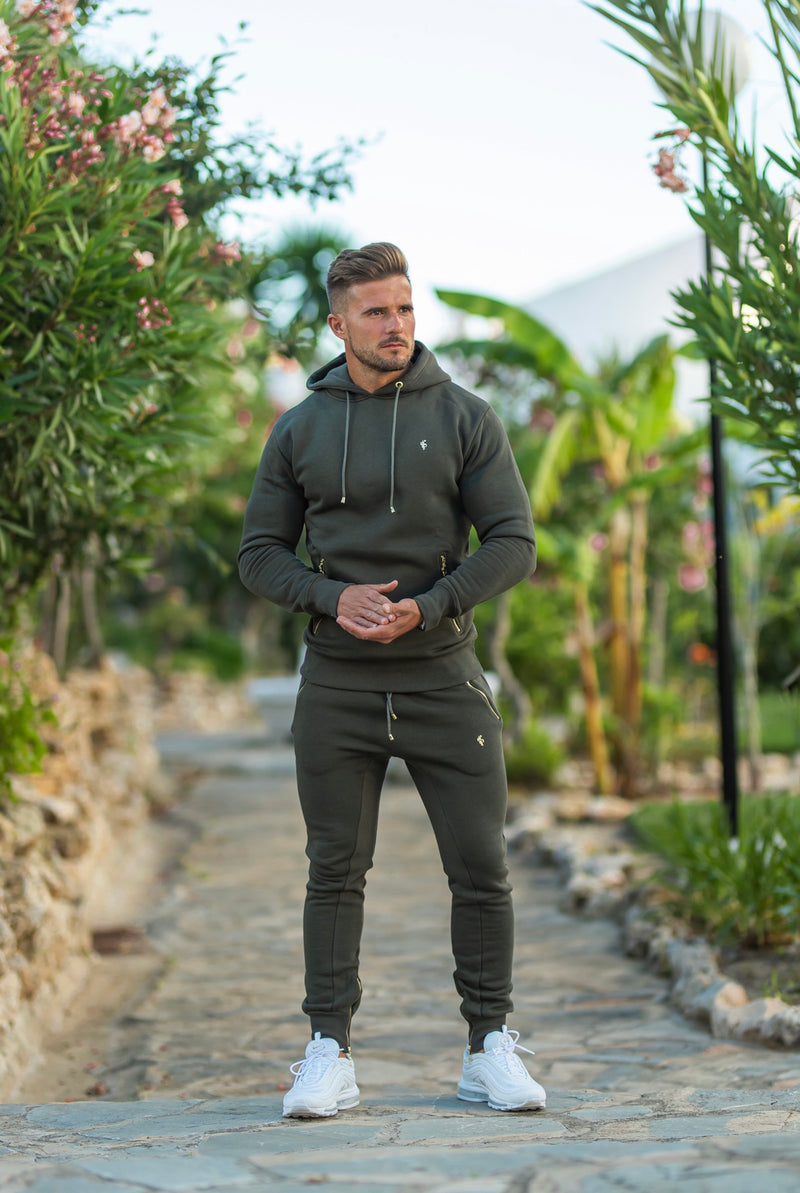 Father Sons Khaki & Gold Overhead Hoodie Top with Zipped Pockets - FSH481
