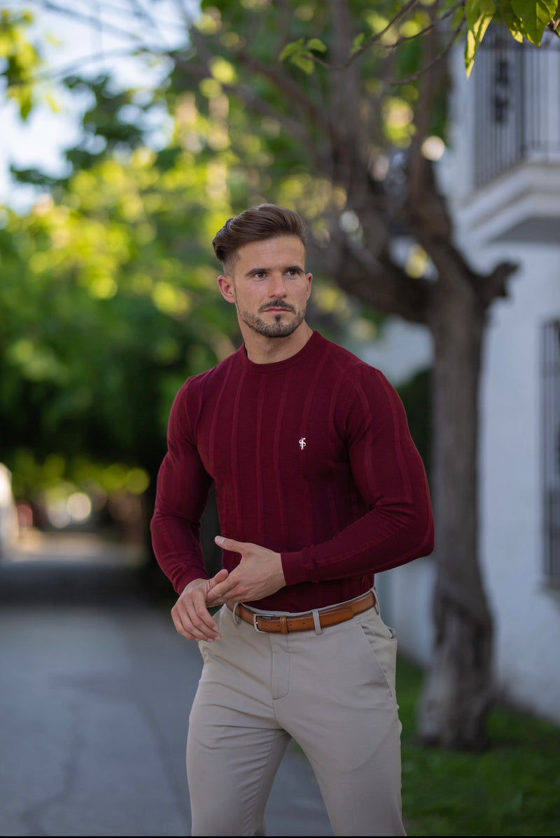 Father Sons Classic Long Sleeve Burgundy Knitted Wide Rib Crew with Gold Emblem - FSH602